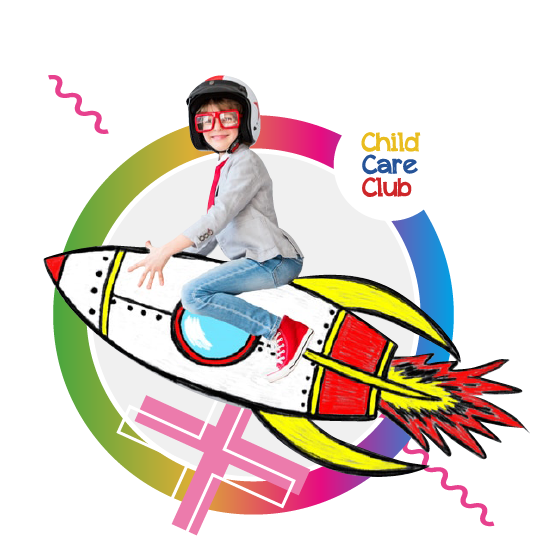 A circle image of a child sitting on top of a brightly coloured rocket ship.