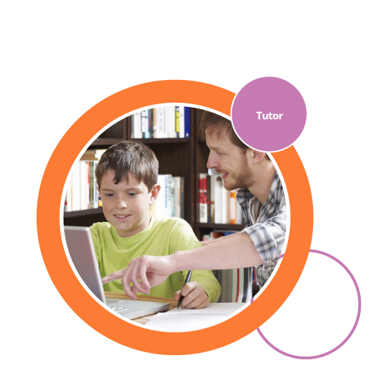 Decorative image showing tutor supporting child as they learn.