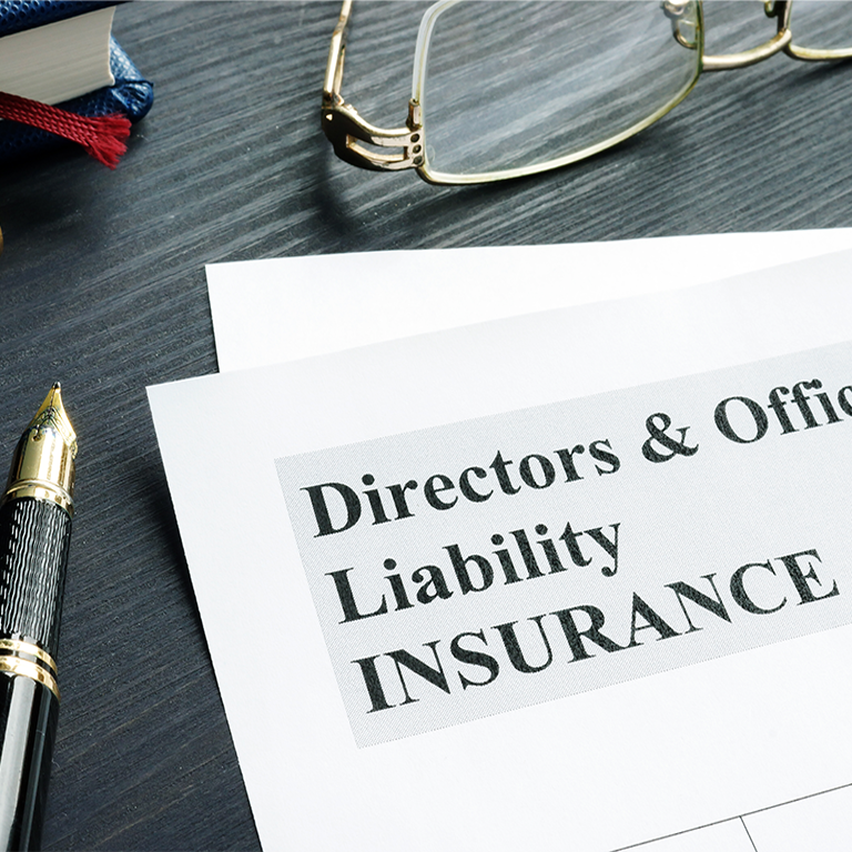 Some paperwork with the title 'Directors and Officers Liability Insurance.